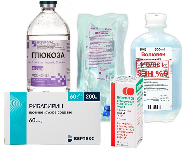 глюкоза, волювен, рибавирин и интерферон